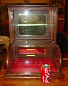 Small Quartered Oak Curved Glass Tower Display Case Cabinet 15201