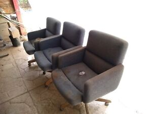 Three Conference Room Chairs Used With Some Damage To Fabric