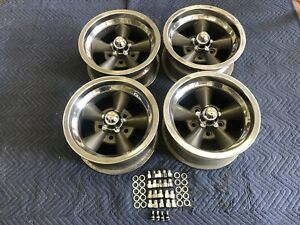 Vintage Set Of 5 Spoke Real Torque Thrust Polished Lip14x7 4 3 4 Chevy Hot Rod