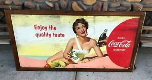 Coca-Cola Coke Double Sided 1956 Cardboard Advertising Sign in Frame