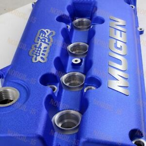 Blue Mugen Racing Rocker Valve Cover For Honda Civic B16 B17 B18 Vtec B18c Gsr