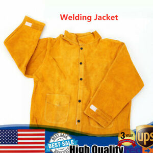 Flame resistant Heavy Duty Leather Welding Jacket Welder Protective Clothing New