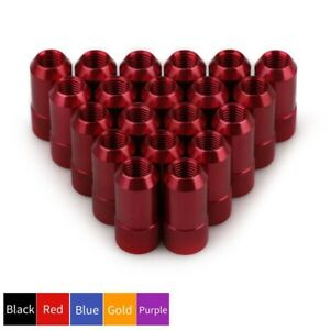 20pcs Aluminum Extended Tuner Round Lug Nuts M12x1 5 Cone Seat Bolt Open End Red