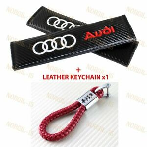 Carbon Embroidery Seat Belt Cover Shoulder Pads Red Leather Keychain For Audi