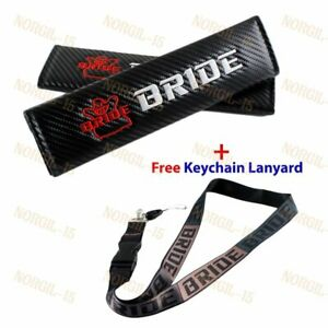 Jdm Bride Carbon Embroidery Seat Belt Cover Shoulder Pads Free Black Keychain