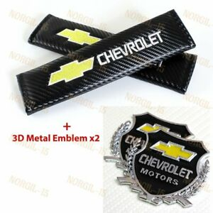 2x Carbon Embroidery Seat Belt Cover Shoulder Pads Vip Silver Emblem For Chevy