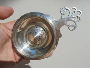 Very Unusual Vintage Sterling Silver Large Tea Strainer W Hinged Lid In Bowl