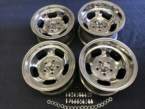 Vintage Set 15x8 1 2 7 Polished Us Indy Mag 5 On 4 1 2 Ford Mopar Dodge Nice