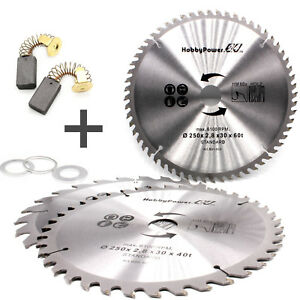3 Circular Saw Blades 250 X 30 Carbon Brushes For G de Table Saw Tk2500 Tk2400