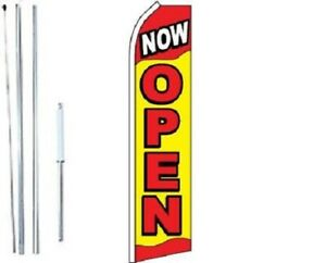 Now Open Swooper Flag With Complete Hybrid Pole Set