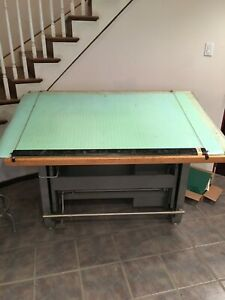 Vintage Mayline May o matic Drafting Table Desk Combo W accessories