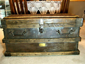 Excellent 1897 Vanderman Railroad Gold Bullion Strongbox Trunk All Original