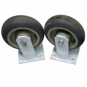 lot Of 2 Algood 6560 Industrial Heavy duty White Welded Steel 6 Caster Wheels