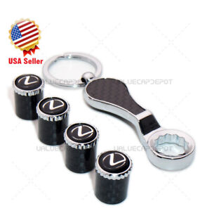 Carbon Fiber Car Wheel Tire Air Valve Caps Keychain Stem Cover For Lexus Emblem