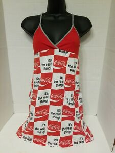 VINTAGE 1970'S COCA-COLA COKE IT'S THE REAL THING DRESS WITH POCKETS MEDIUM