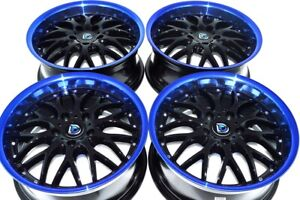 4 New Ddr R19 17x7 5 5x114 3 38mm Black blue Lip Wheels Rims