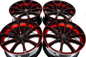 4 New Ddr Elite 18x8 5x114 3 38mm Black Polished Red Undercut 18 Wheels Rims