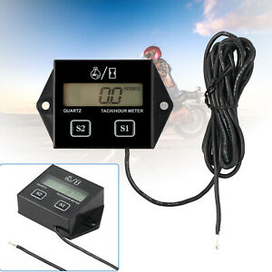 Wire Inductive Tachometer Tach Hour Meter Rpm Digital For 2 4 Stroke Engine New