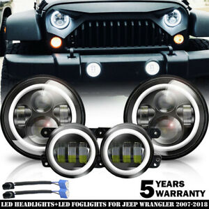 2007 17 For Jeep Wrangler Jk Halo Led Headlights Halo Led Fog Lights Combo Kit