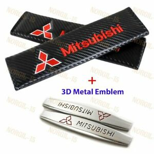 Carbon Fiber Red Seat Belt Cover Shoulder Pads 3d Metal Emblem For Mitsubishi