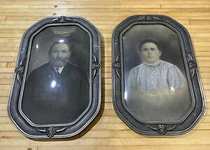 Gothic Victorian Bubble Convex Glass Framed Picture Man Woman Haunted