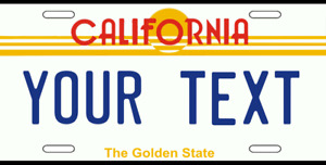 California Personalized License Plate Custom Add Text