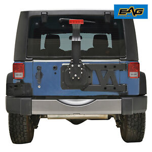 Eag Hinged Tire Carrier W Brake Light Bracket Black Fits 07 18 Jeep Wrangler Jk