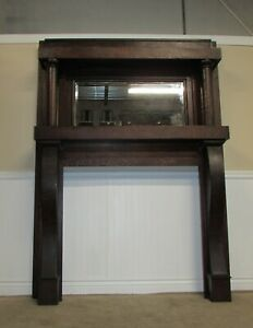 Antique Quarter Sawn Oak Mantle Fireplace Mantel Beveled Mirror Empire Style