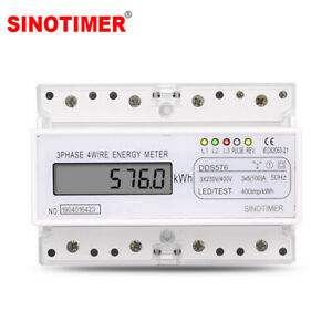 380v Three Phases 4 Wire Digital Power Meter Electric Electricity Din Rail Mount