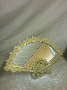 Vintage Iron Arts Cast Iron Table Top Vanity Fan Shaped Easel Mirror