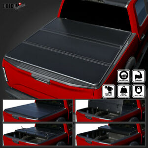 For 2015 2019 Ford F150 Super Crew Cab 5 5ft Bed Hard Tri Fold Tonneau Cover