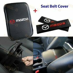Embroidery Car Center Armrest Cushion Mat Pad W Seat Belt Cover Set For Mazda