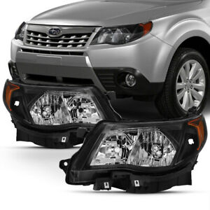 For 09 13 Subaru Forester Black factory Style Headlights Replacement Lamps Set