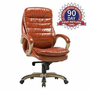 Executive Bonded Leather Chair Comfort Padding Ergonomic Seat Managerial Office