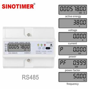 Rs485 220 380v 5 100a 3 Phase 4 Wire Din Rail Energy Meter Digital Power Monitor