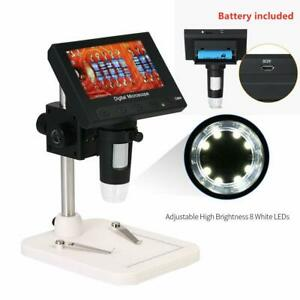 1000x 5mp Microscope 4 3 Lcd Display 720p 8led Digital Magnifier With Holder Us