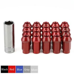 20x Wheel Rims Lug Nuts M12x1 5 Cone Seat Closed End Aluminum Extended Tuner Red