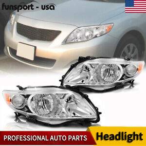 For 2009 2010 Toyota Corolla Chrome Housing Amber Corner Headlights Headlamp Set