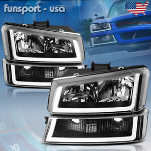 For 2003 2006 Chevy Silverado Black Housing Clear Headlight lamp W Led Drl 4pcs