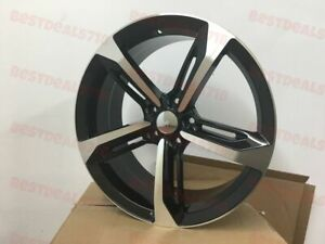Brand New Set Of Four 18 Rs7 Style Black Machine Face Wheels Rims 5x112