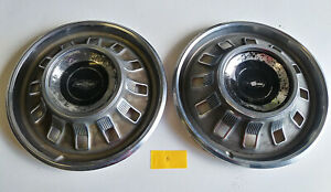 1967 67 Chevy Impala Bel Air 14 Hub Caps Wheel Covers Pair good B