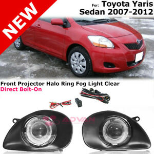Projector Fog Lights With Halo Ring Lamps Assembly For Toyota Yaris Sedan 07 12