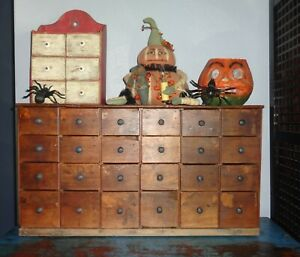 24 Drawer Antique Spice Cabinet Box Cupboard Apothecary Chest Aafa