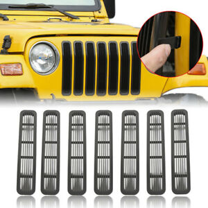 7pcs Clip In Mesh Front Grill Inserts For 1997 2006 Jeep Wrangler Tj Unlimited