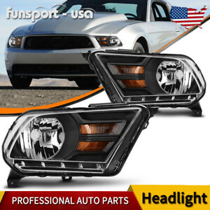 For 2010 2014 Ford Mustang Pair Black Housing Amber Corner Headlight Headlamps