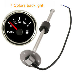52mm 2 1 16 Fuel Level Gauge With Sender 73 10ohm 240 33ohm 0 90ohm 7 Color Led