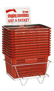 Shopping Baskets Set Of 12 Red Standard Handles Plastic W Metal Stand 12 X 17