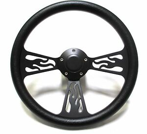 1969 1989 Cadillac Steering Wheel Black Billet Flamed Design With Adapter Horn