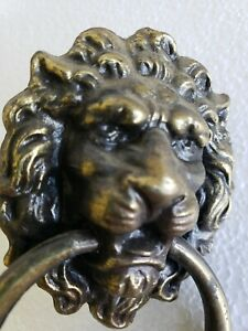 Large Single Vintage Brass Plated Lion Head Drawer Pull Handle N49f