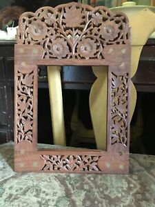 Large Vintage Carved Wood Brass Inlaid Picture Painting Frame